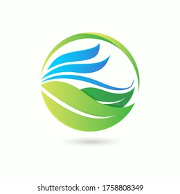 Green leaf eco symbol logo natural organic design with smooth ocean wave icon vector isolated on white background illustration