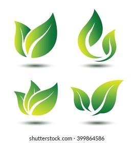 Green leaf eco symbol set ,vector illustration