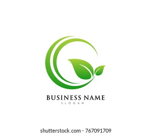 Green leaf ecology logo template, nature element vector icon for business company with green gradient color