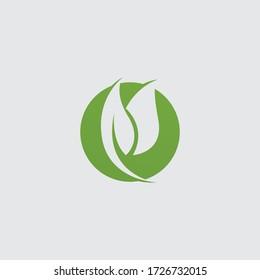green leaf ecology nature element vector logo