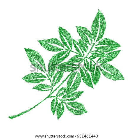 Green Leaf Embroidery Artwork Design Clothing Stock Vector Royalty