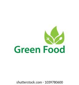 Green leaf food logo icon