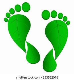 green leaf foot prints