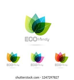 Green leaf logo design. Four leaves health environmental logo. Green Leaf logo, health icon on white background vector illustration