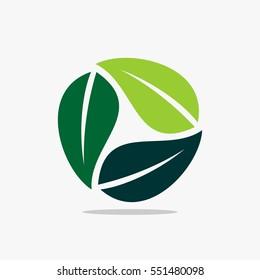 Green leaf logo, green leaf icon