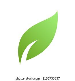 Green leaf logo illustration, silhouette leaf symbol logo
