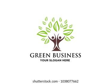green leaf logo, tree logo vector