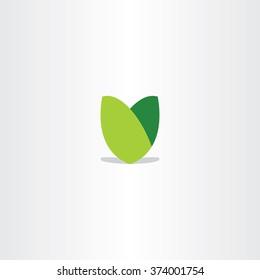 green leaf logotype v letter sign icon vector design symbol