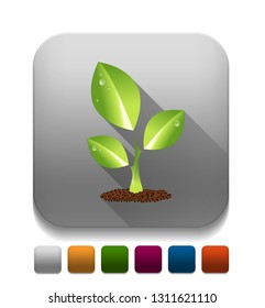 green leaf With long shadow over app button
