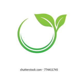 green leaf nature circle vector logo template design