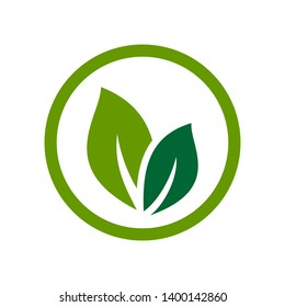 Green leaf nature element vector icon
