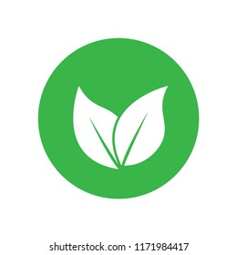 Green leaf nature icon logo template