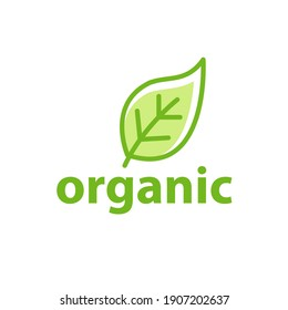 Green leaf organic logo eco icon. Nature flower green vegan organic label