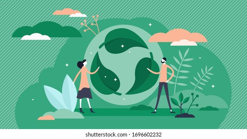 Green leaf recycle symbol vector illustration in flat tiny persons concept. Reusable cycle visualization for environmental zero waste nature friendly lifestyle.
