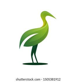Green leaf stork heron logo design template vector