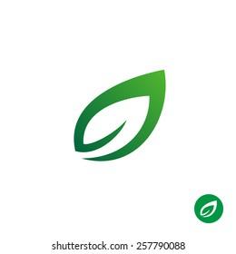 Green leaf symbol. Single contour style plant leaf simple logo.
