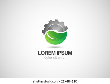 Green leaf with two gears cogs. Vector logo design template. Abstract concept for ecology theme, green eco energy, technology and industry.