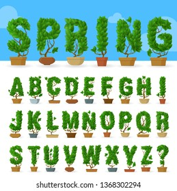 Green leaf vector abc typeface font vector character set. .