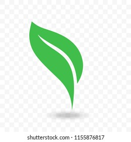 Green leaf vector logo for vegetarian or vegan, ecology environment and bio label. Isolated leaf icon on transparent background