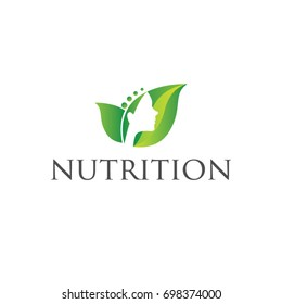 Green Leaf With Woman Face As A Logo Symbol Icon Of Hair Beauty Nutrition
