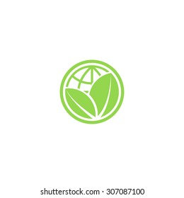 Green leafs and globe Eco icon, mockup save planet logo