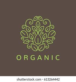 Green leafs logo. Yoga sign. Natural and organic food icon. Eco friendly icon. Ecology icon. Leaf icon. Cosmetics, Spa logo. Beauty salon logo. Decoration, Boutique logo.