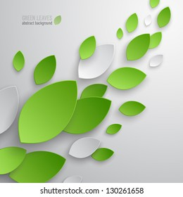 Green leaves abstract background. Vector illustration.