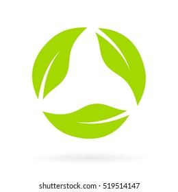 Green leaves abstract eco recycled icon vector illustration isolated on white background