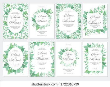 Green leaves border. Wedding invitations set. Floral design card template. Vector illustration.