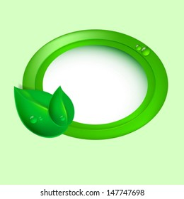 Green leaves with circle. Eco concept. EPS10 vector.