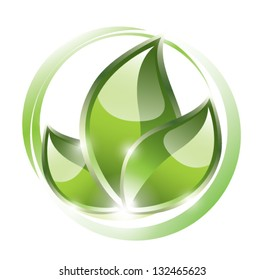 Green leaves in circles, eco concept, EPS 10, isolated
