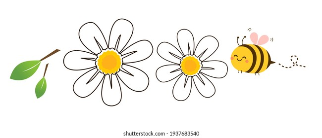 Green leaves, daisy flower and bee cartoon icon isolated on white background vector illustration.