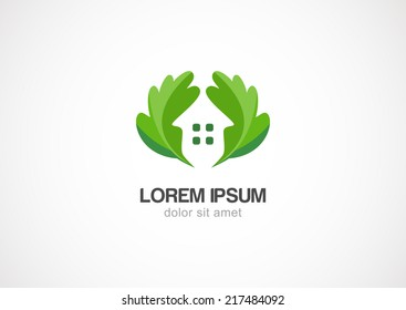 green leaves eco home, vector logo design template.