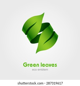 Green Leaves Eco Logo vector design element template, Ecology concept type as logotype, Vector illustration Eps 10