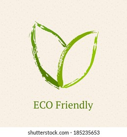 Green leaves. Ecology icon.