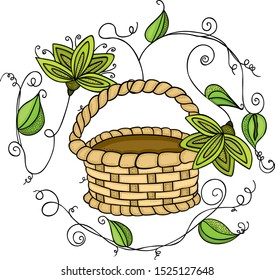 Green leaves and empty basket