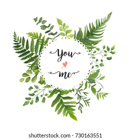 Green Leaves foliage vector round greenery leaf wreath of eucalyptus branches forest fern frond herb plant assortment mix card design Delicate natural rustic elegant watercolor illustration text space