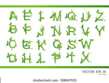 green leaves font vector illustration grass alphabet floral