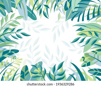 Green Leaves frame ,Home Decorative Frame. Texture with Fern and Palm leaves, Palm spring Summer Paper Art, Vector illustration in white background