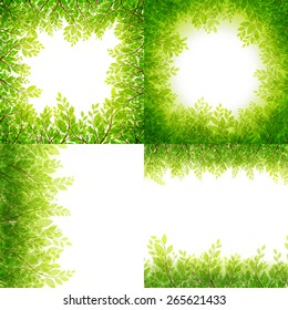 Green leaves frame Set isolated on white background. EPS 10 vector file included