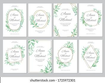 Green leaves geometric border. Wedding invitations set. Floral design card template. Vector illustration.