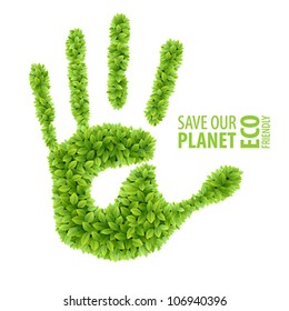 Green leaves hand . Eco Friendly Vector illustration.