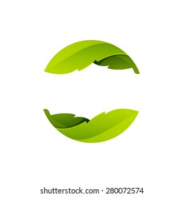 Green leaves icon. Abstract sphere logo, volume icon design template element