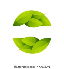 Green leaves icon. Ecology sphere logo. Vector elements for ecology banner, presentation, web page, card, labels or posters.