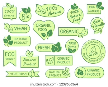 Green leaves labels. Eco, healthy and natural products. Certified quality fresh organic vegetarian food vector label or bio leaf sticker. Vegetarian health isolated icons concept set