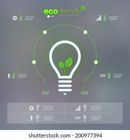 Green leaves in light bulb icon design can be used for workflow layout, chart, number options, presentation, web design. Eps 10 stock vector illustration