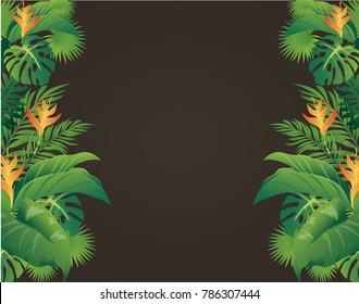 green leaves modern design and black background vector illustration