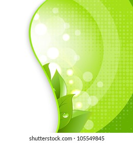Green Leaves On Natural Background, Vector Illustration