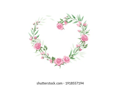 Green leaves and roses - heart shape. Valentine's day card. Vector illustration -- frames, corners or vignettes for decorating postcards. Watercolor style.