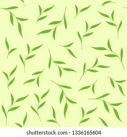 Green leaves seamless pattern. Vector background for fabric print, tea package
